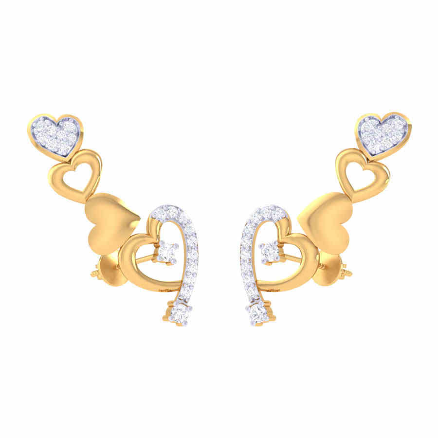 Heart Shape Long Diamond Earri