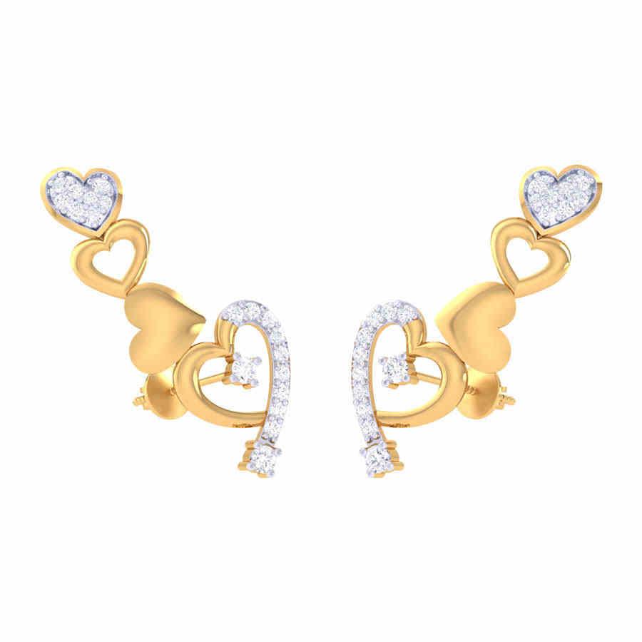 Heart Shape Long Diamond Earri