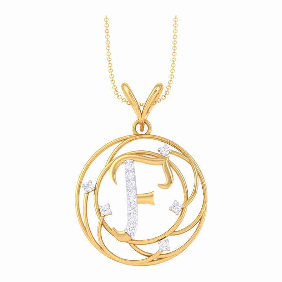F Shape Diamond Pendant
