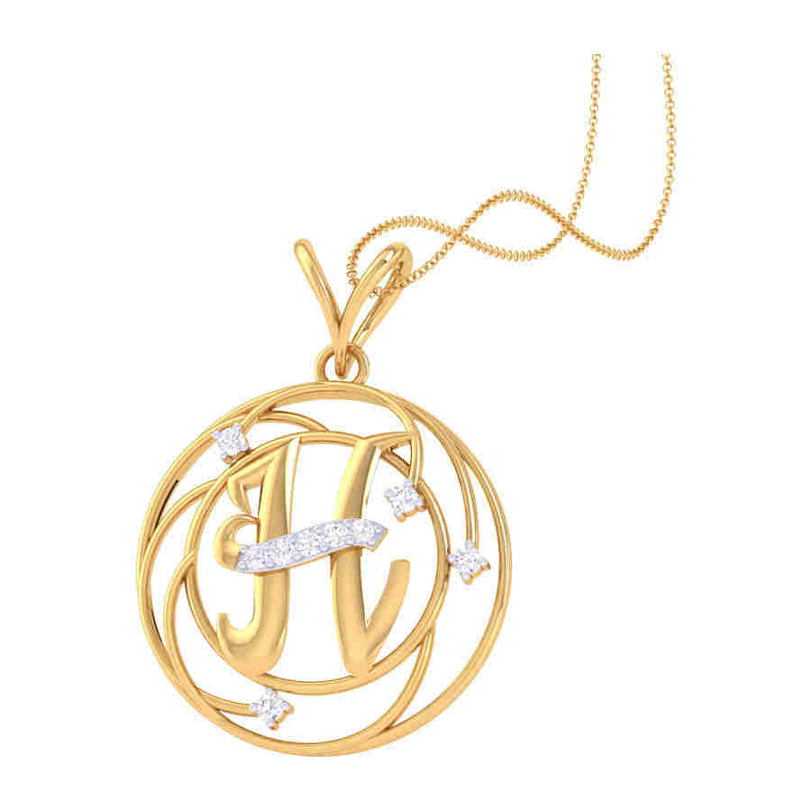 H Shape Diamond Pendant