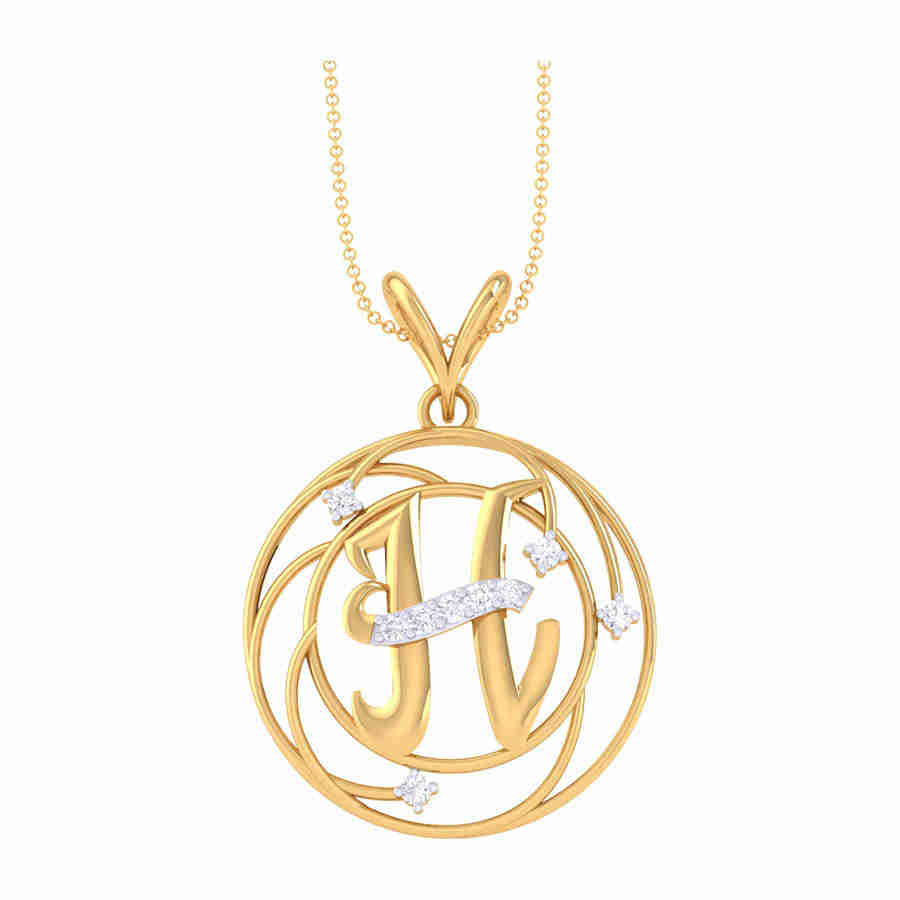 H Shape Diamond Pendant