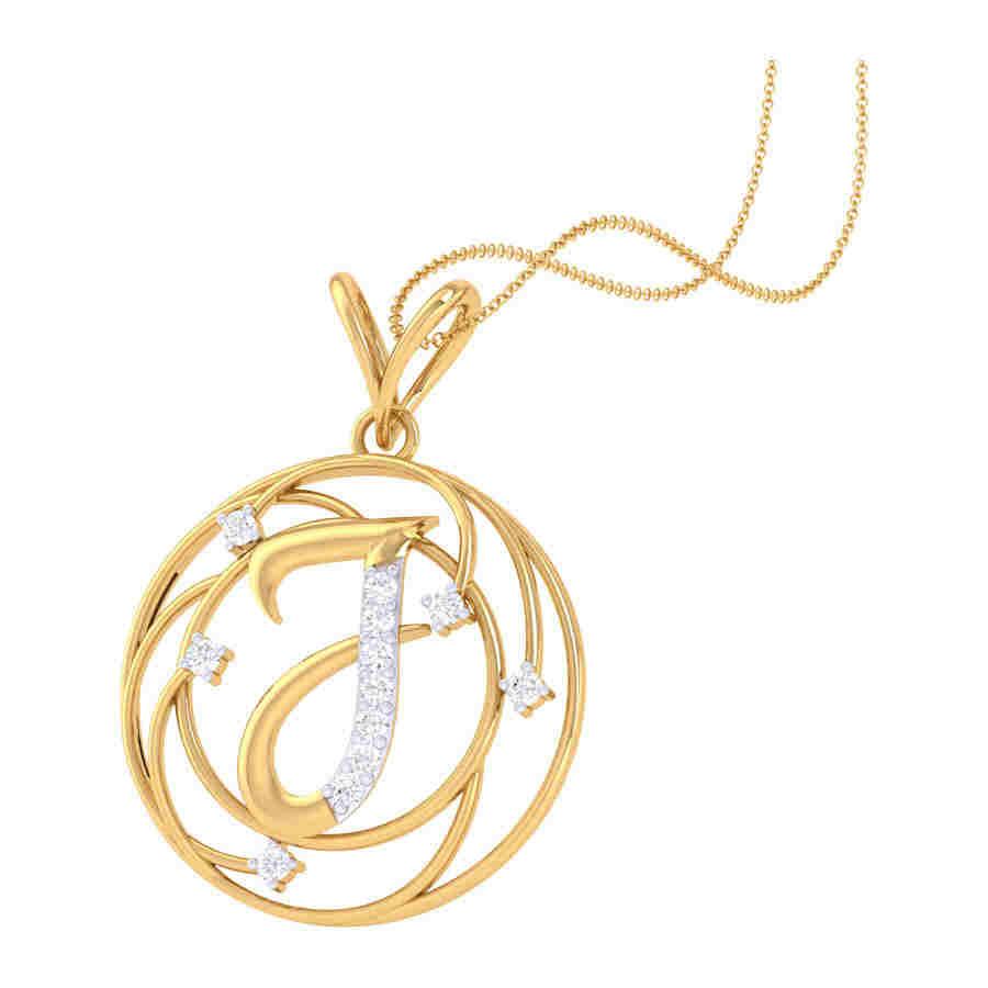 J Shape Diamond Pendant