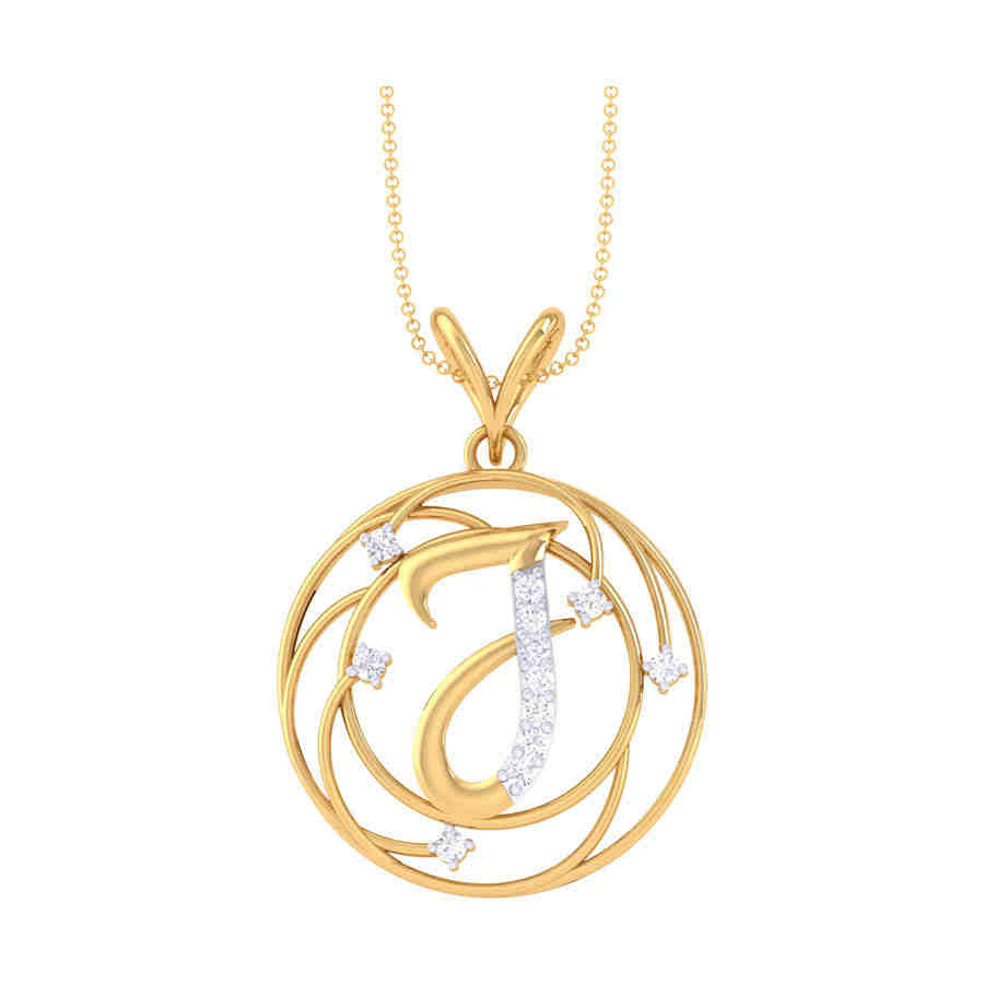 J Shape Diamond Pendant