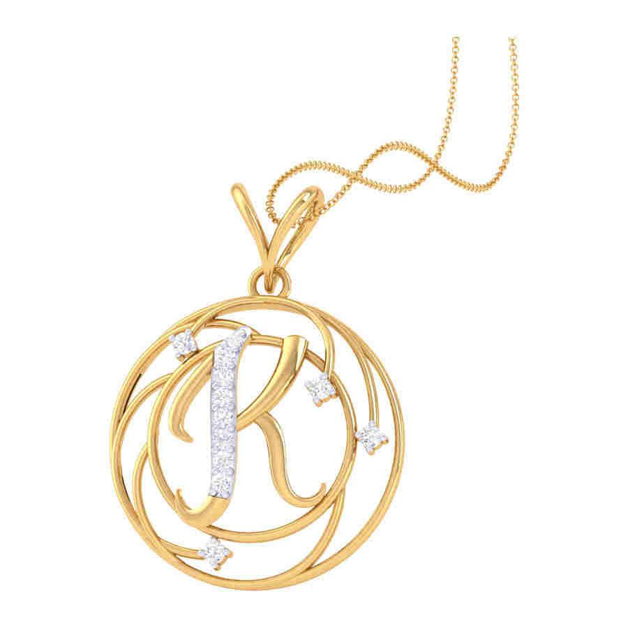 K Shape Diamond Pendant