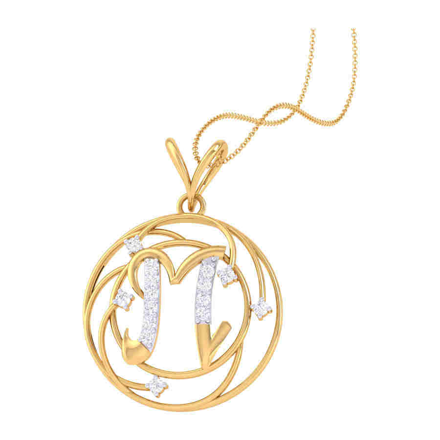 M Shape Diamond Pendant