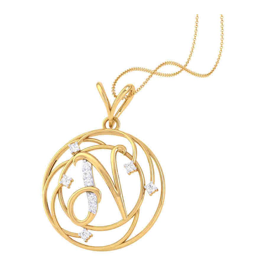 N Shape Diamond Pendant