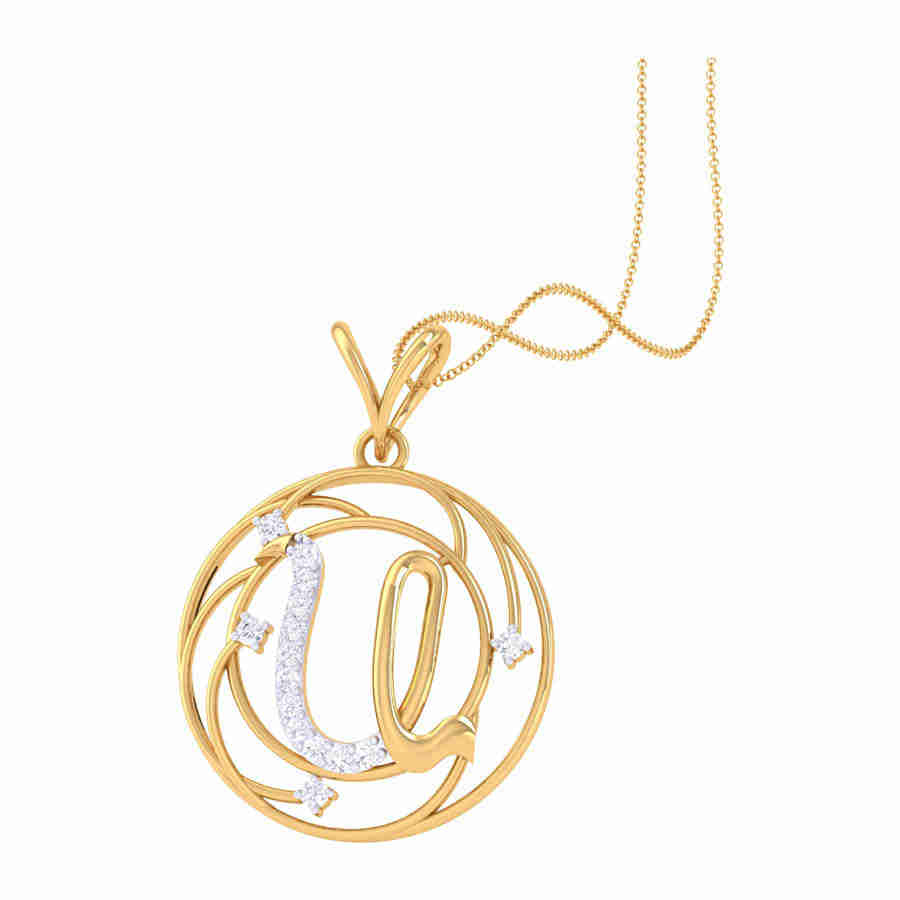 Small U Diamond Pendant