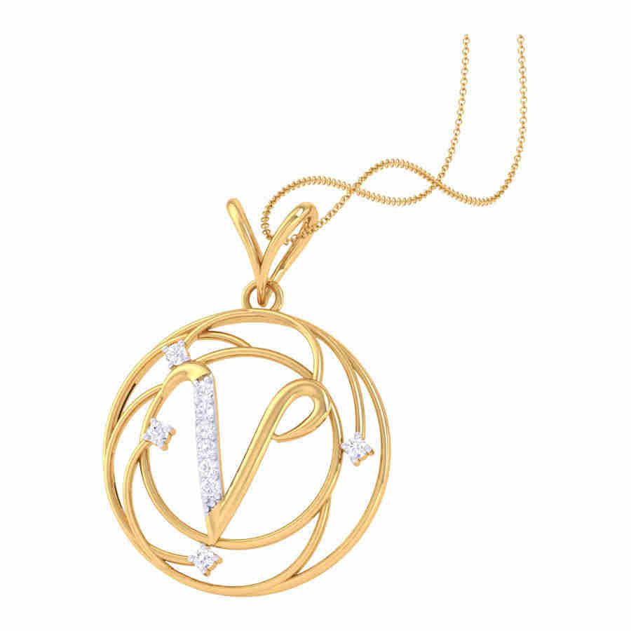 Small V Diamond Pendant