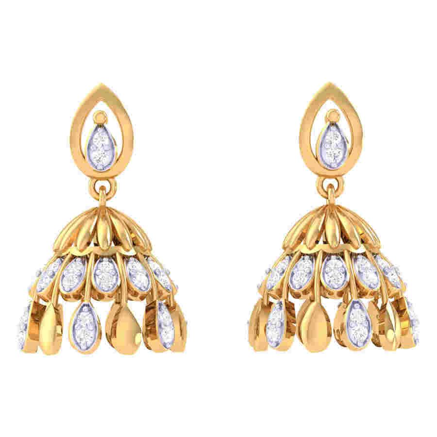 Dagfling Jhumki Diamond Earrin