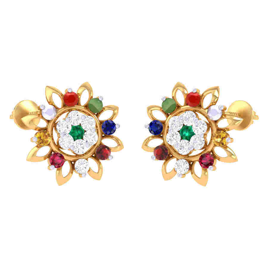 Fancy Navratna Earring