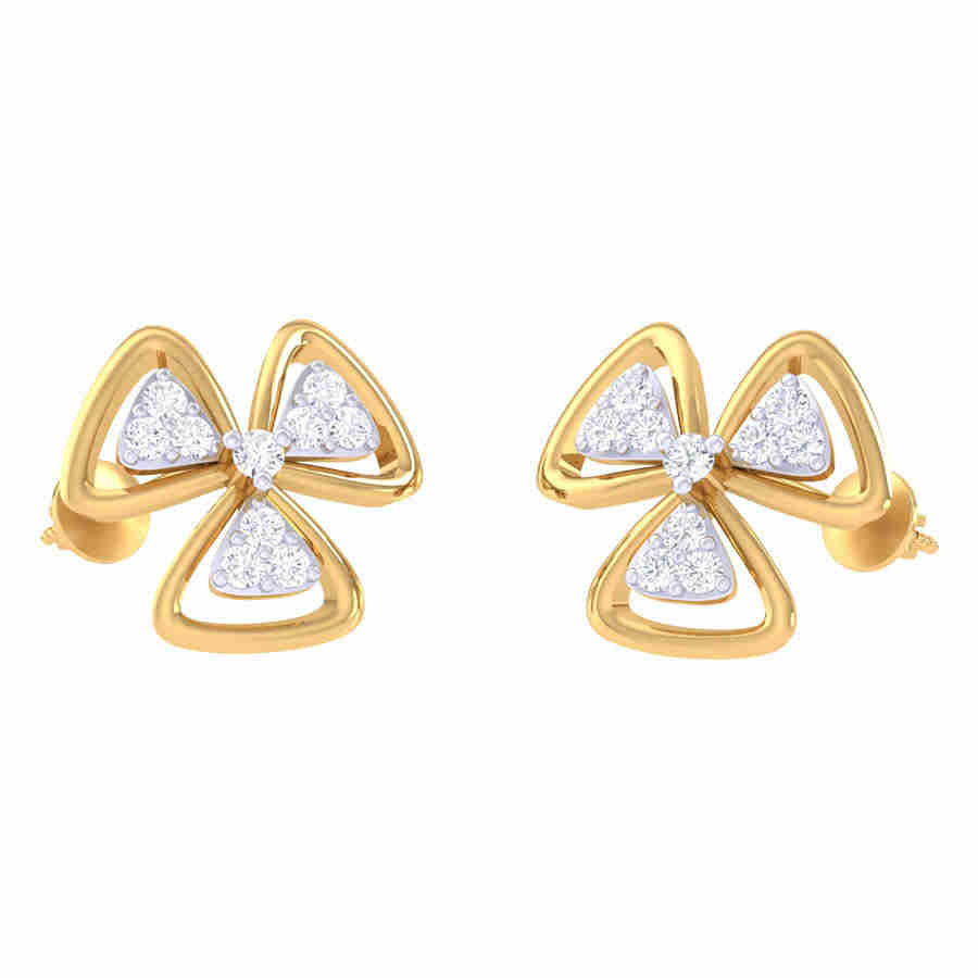 3 Studed Triangle Diamond Earr