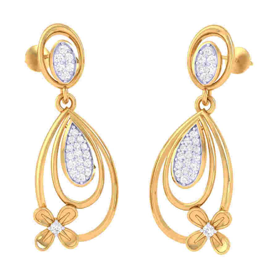Drops With Flower Diamond Earr
