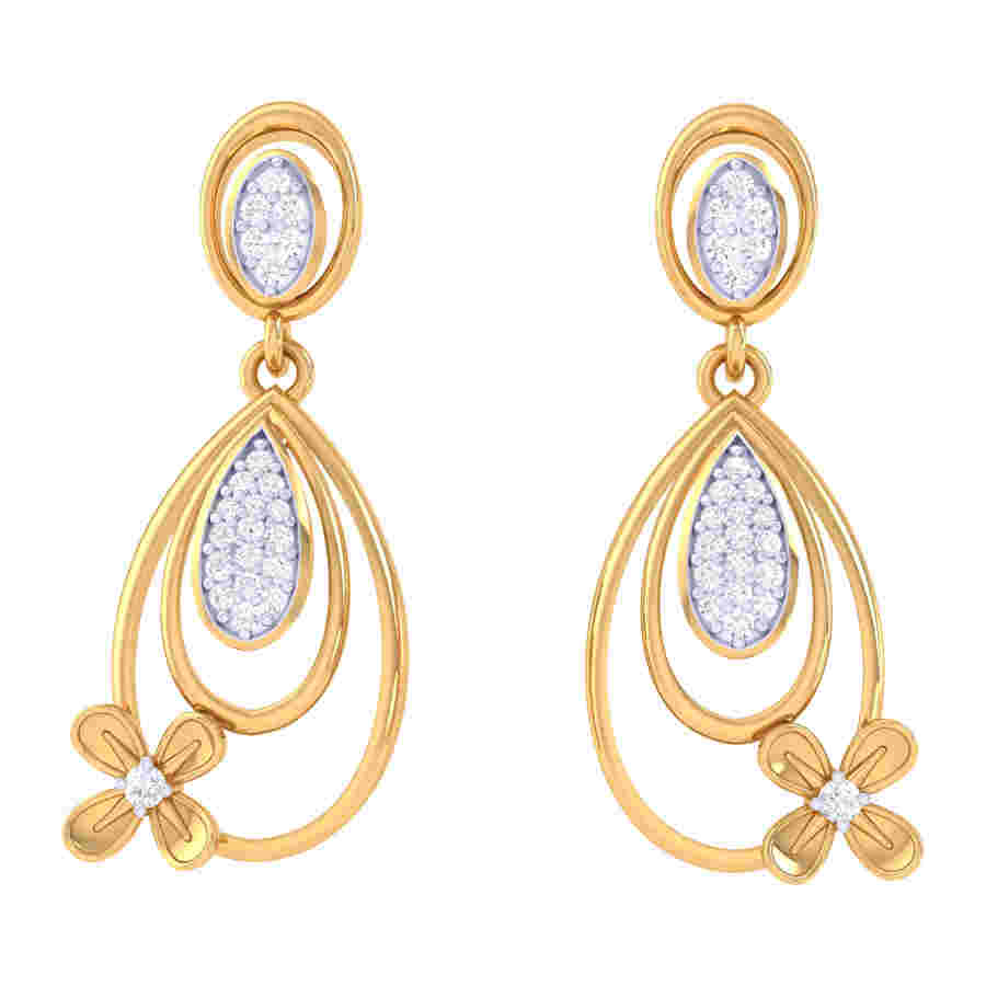 Drops With Flower Diamond Earr
