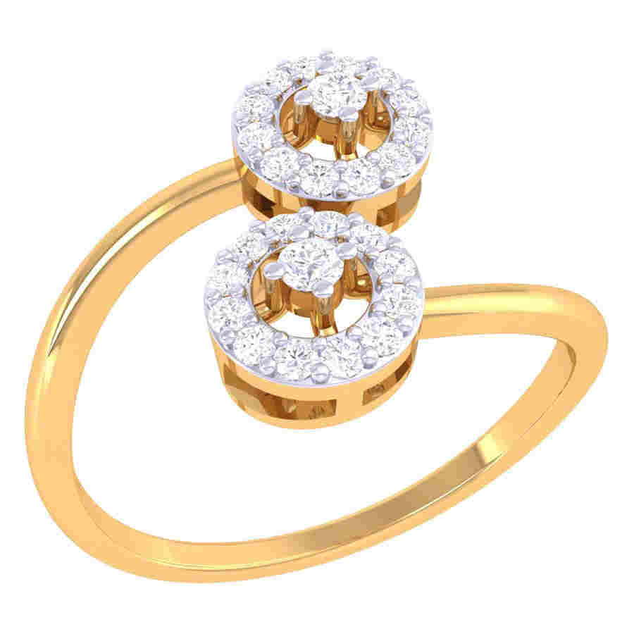 Twins Round Shape Diamond Ring