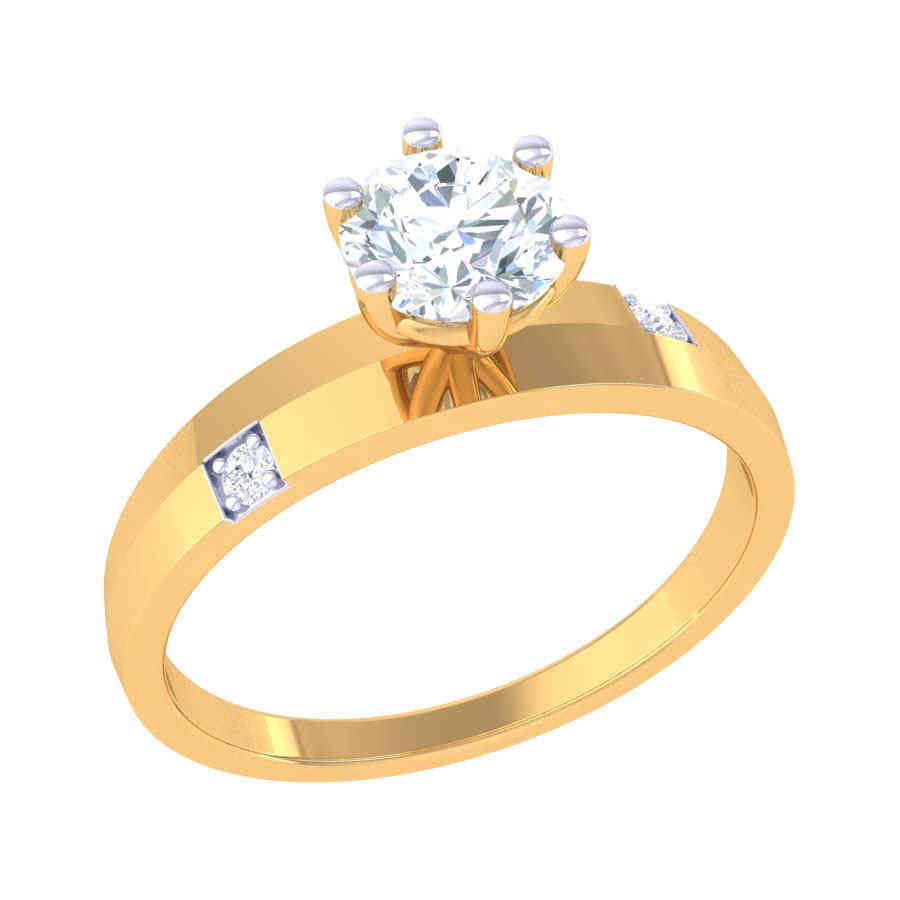 Solitaire With 2 Diamond Ring
