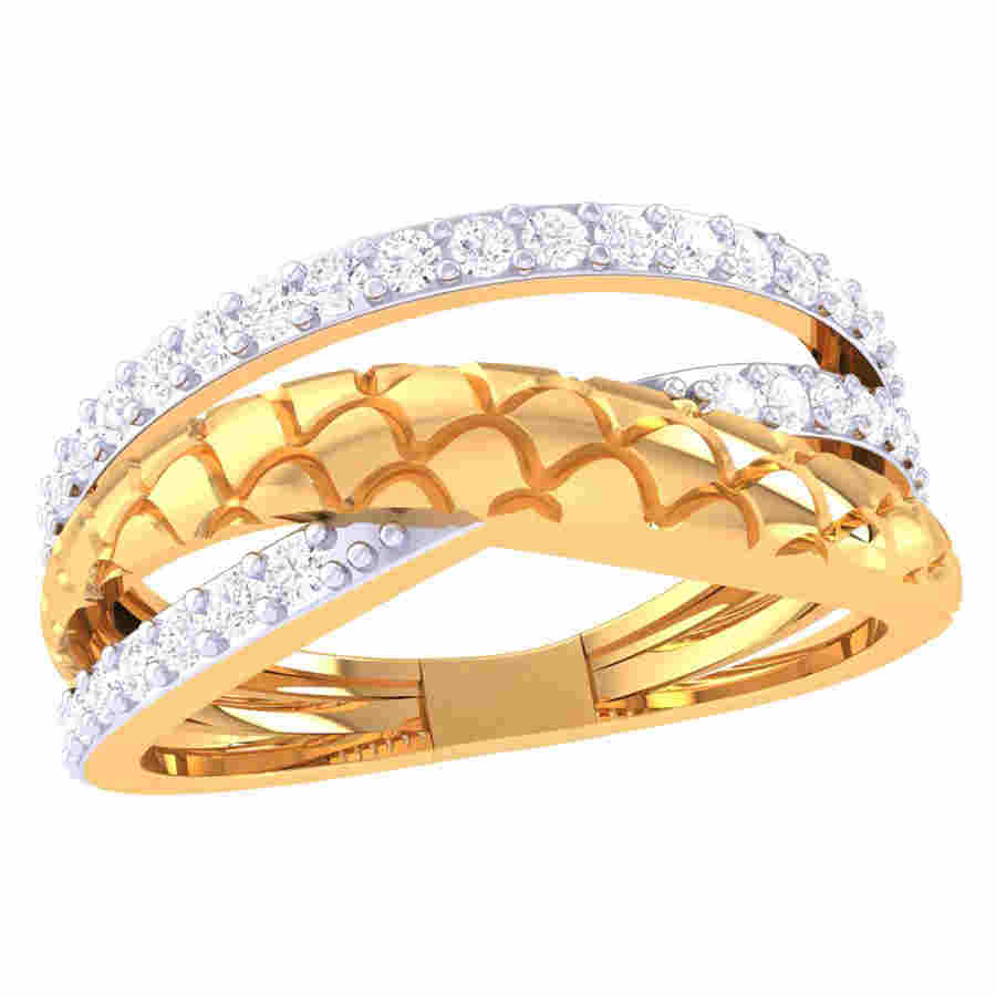 Cross Line Diamond Ring
