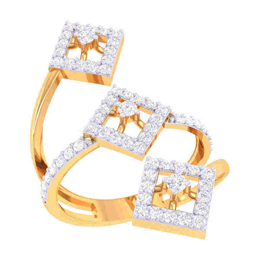 3 Rectangle Shape Diamond Ring
