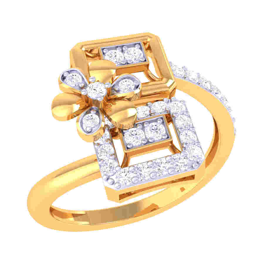 Petal N Sqaure Diamond Ring