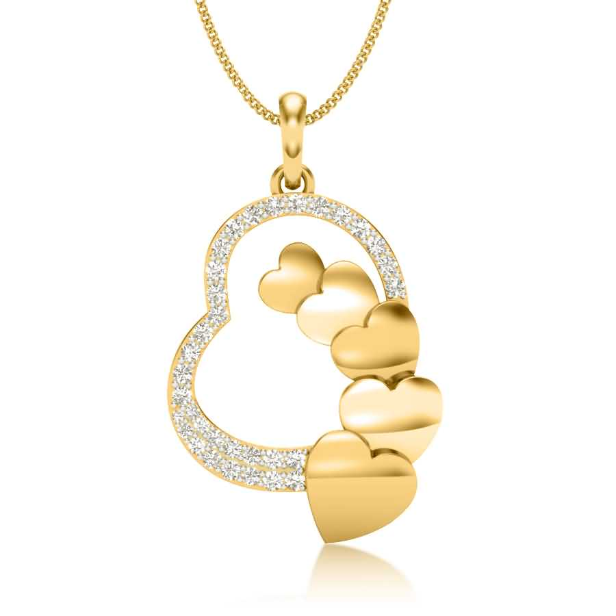 6 Hearts Diamond Pendant