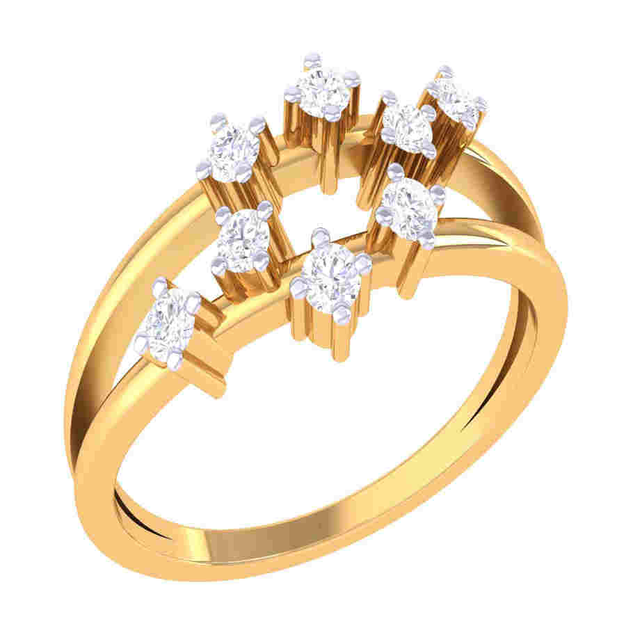 Twins Round Shape Diamond Ring