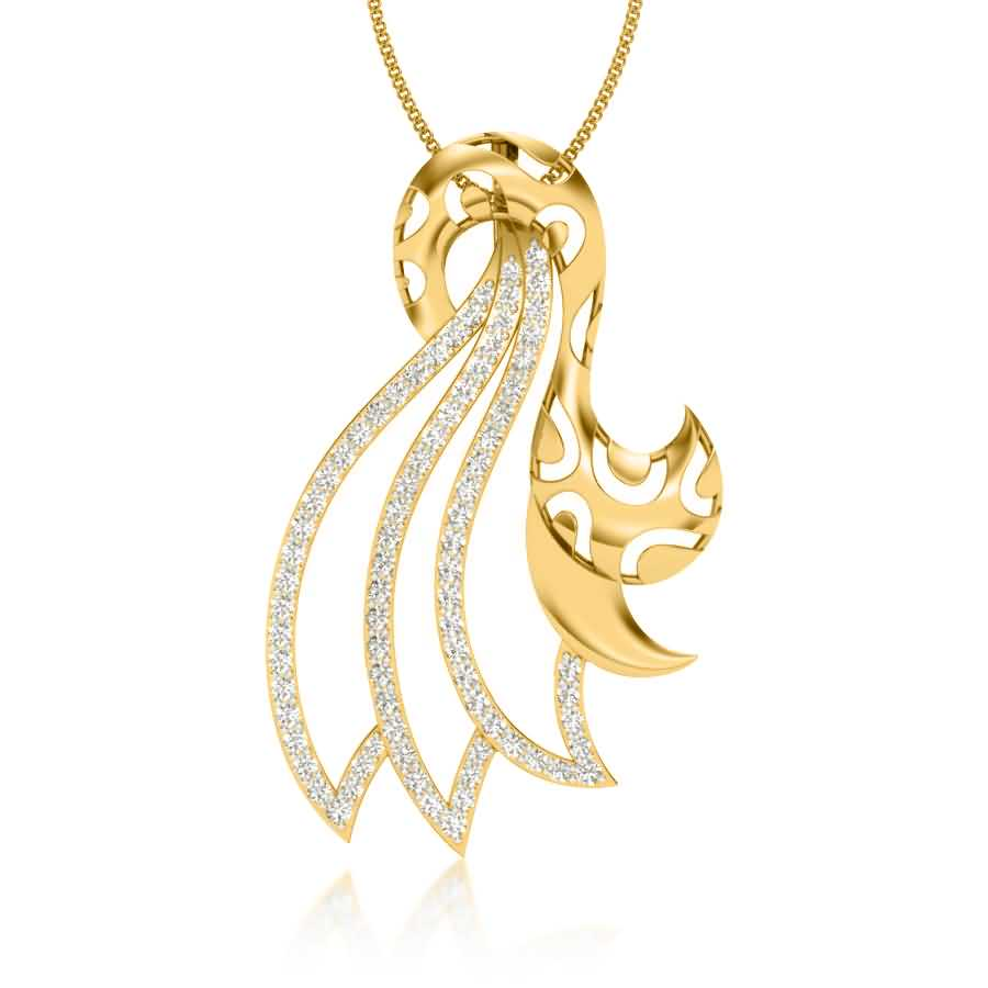 Studded Swirls Diamond Pendant
