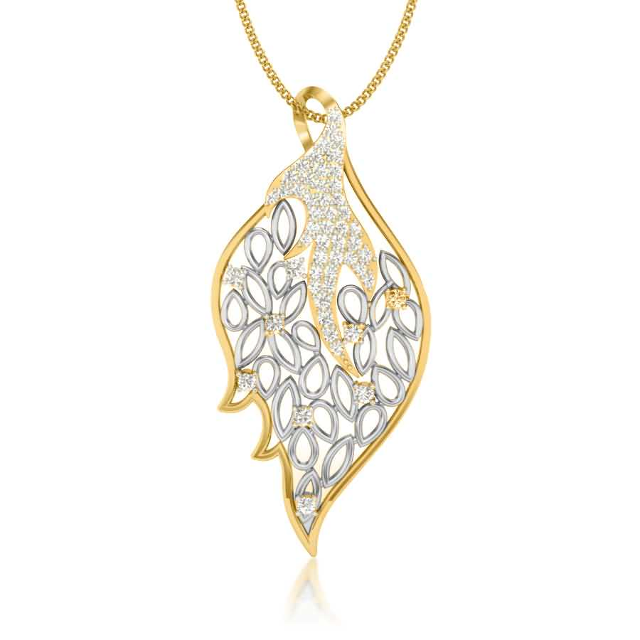 Sparkling Leaf Diamond Pendant