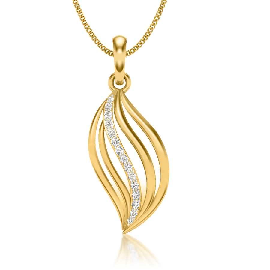Leaf Shape Diamond Pendant