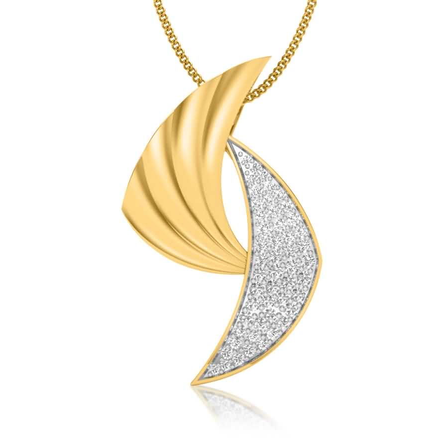 Crescent Type Diamond Pendant