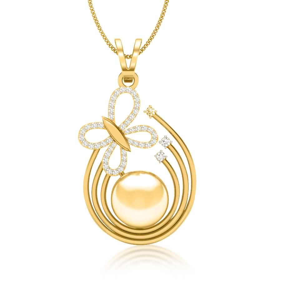 Pearl n Fly Diamond Pendant