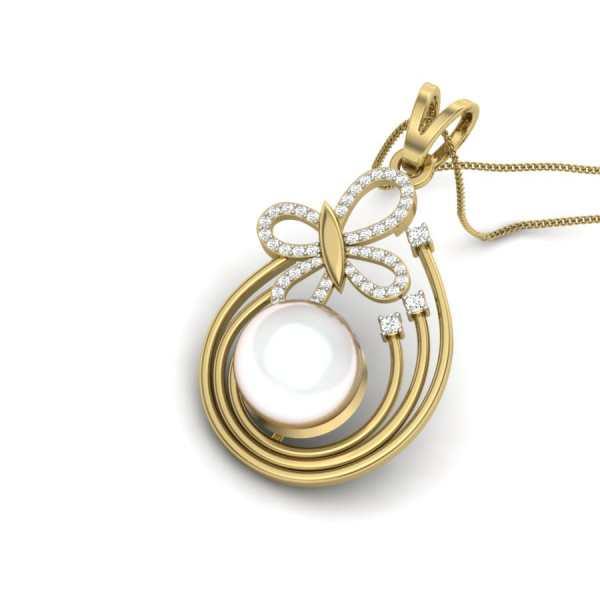 Pearl n Fly Diamond Pendant