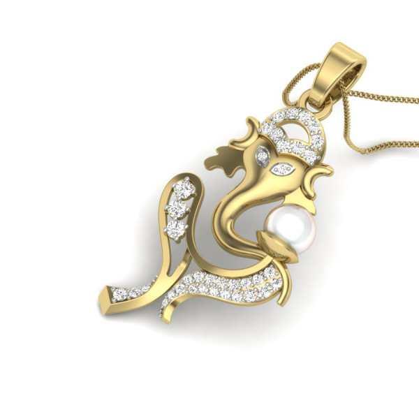 God Ganesha Diamond Pendant