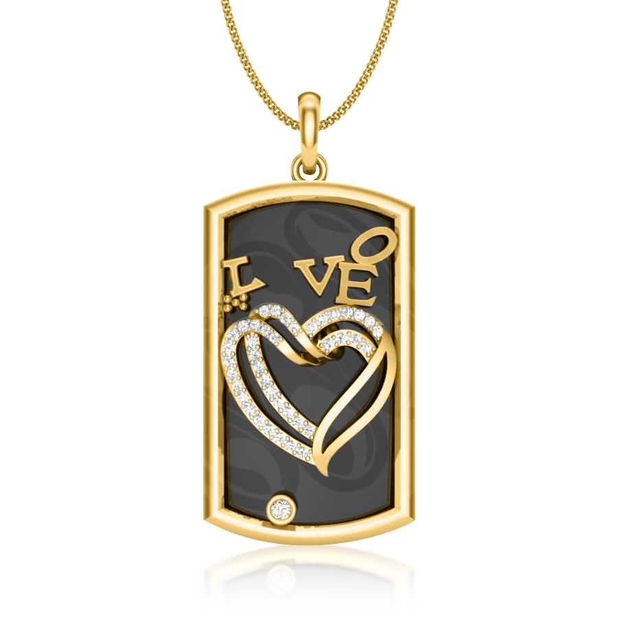 Love With Heart Diamond Pendan