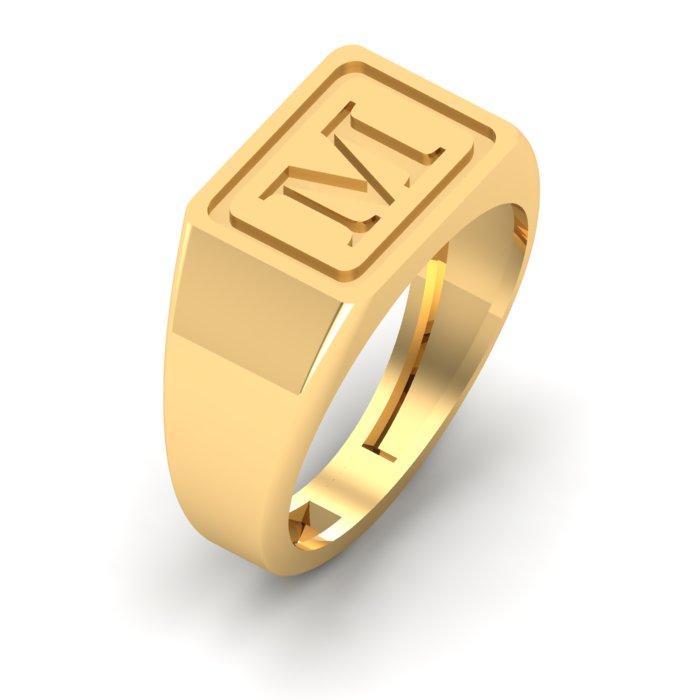 M Letter Gold Ring