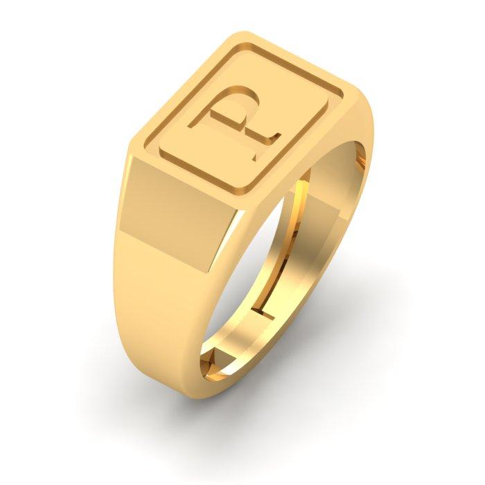 P Letter Gold Ring