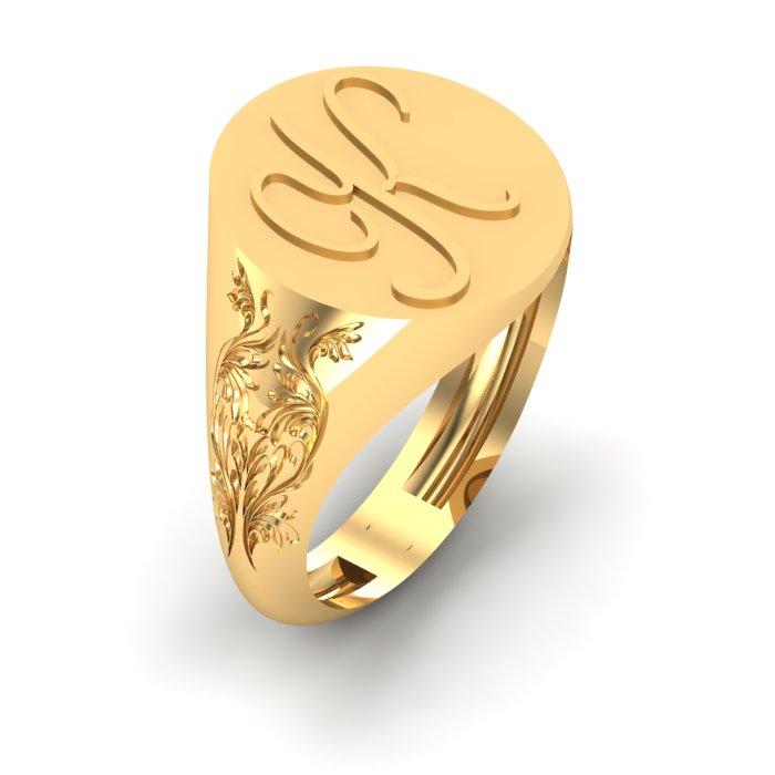 K Letter Gold Ring