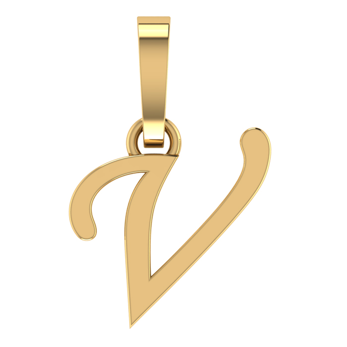 Stylish V Gold Pendant