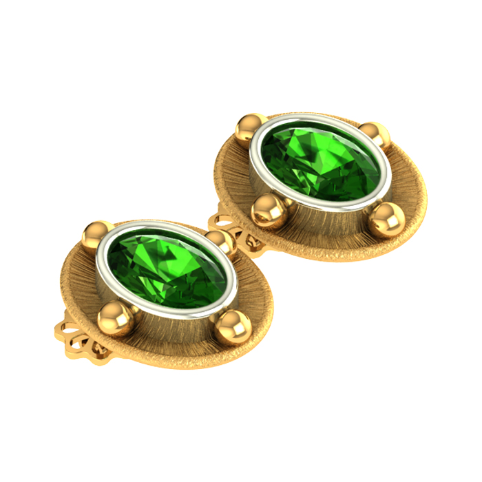Green Stone Stud Gold Earring