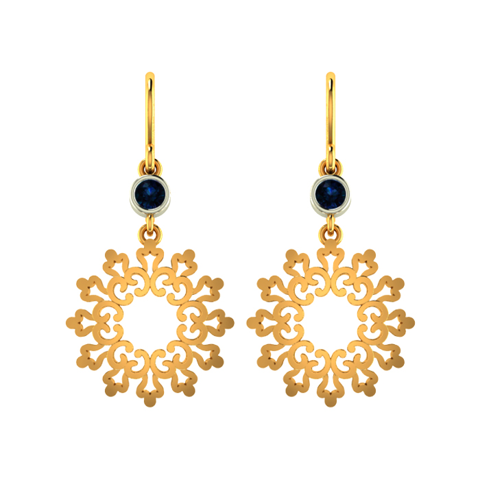 Pave Drop Gold Earring
