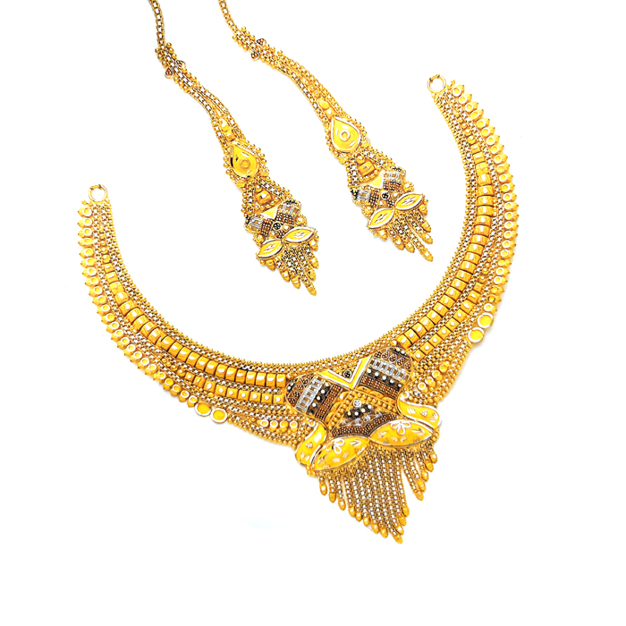 Emarald Gold Necklace Set