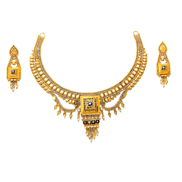 Kalka Gold Necklace Set