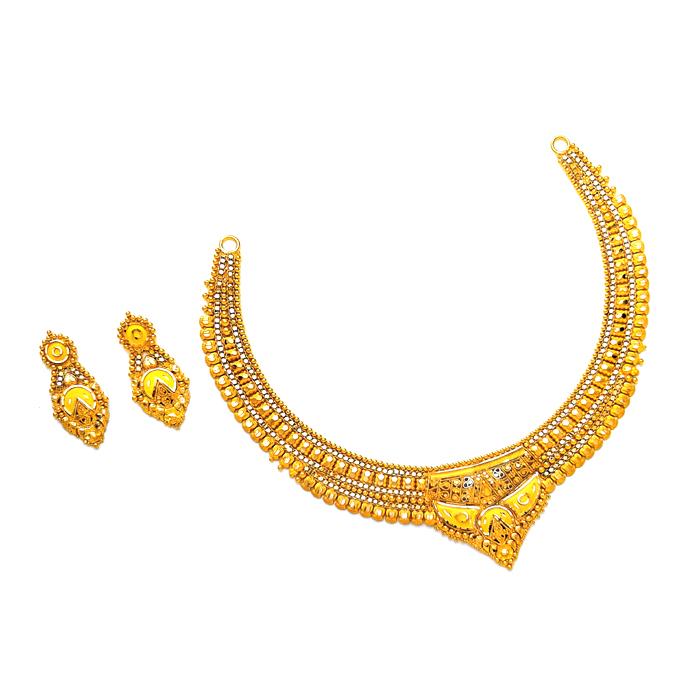 Sapphire Gold Necklace Set