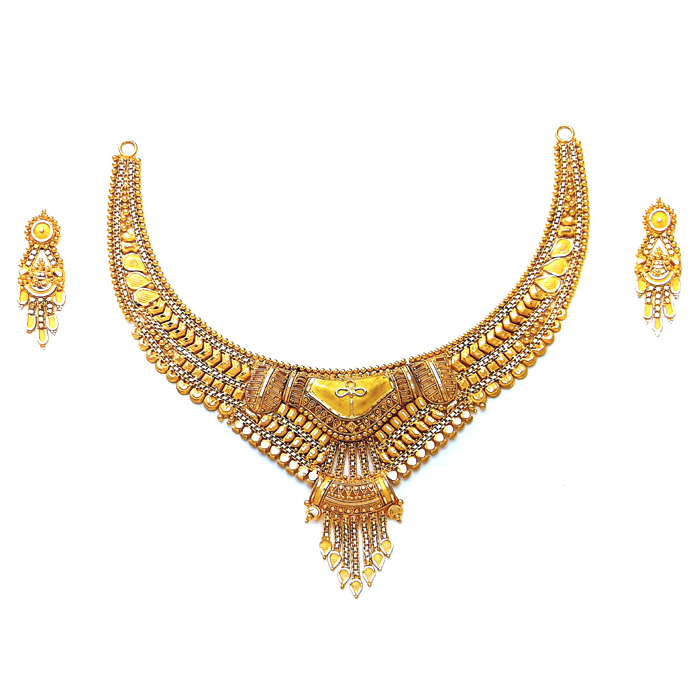Double Pendant Gold Necklace