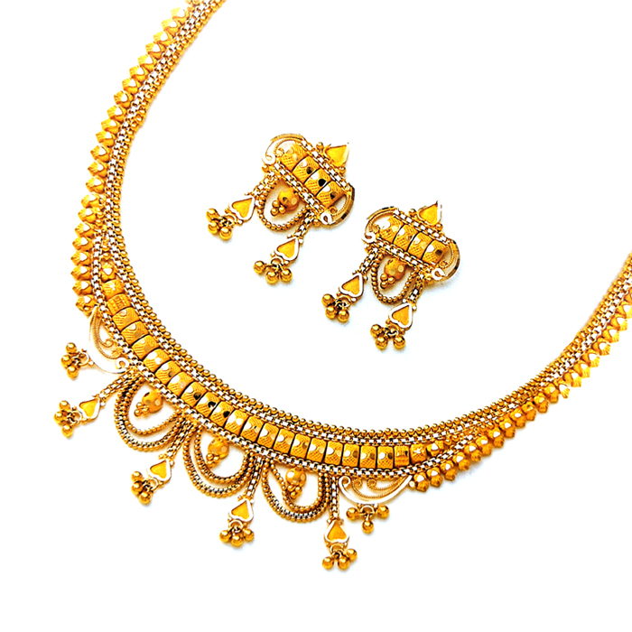 Half Round Design Gold Necklace