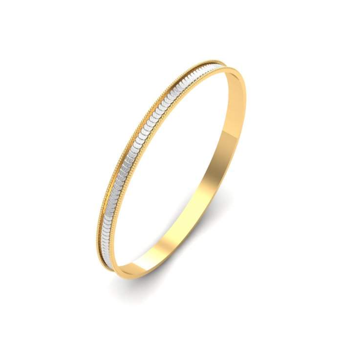 Gold Kada With White Gold Line