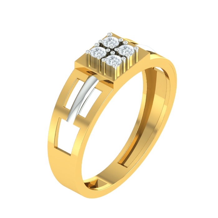 Grid Cutout Diamond Ring