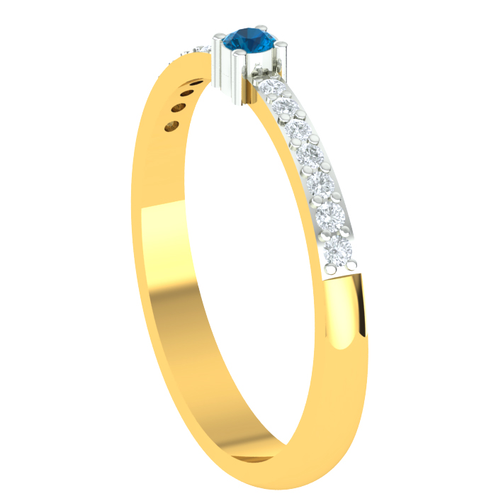 Classic Blue Diamond Ring is a Certified Gold Ladies Ring In 18KT Gold (2.00 gms) with Dia