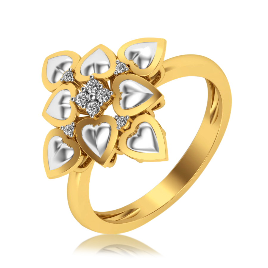 Heart on Heart Diamond Ring