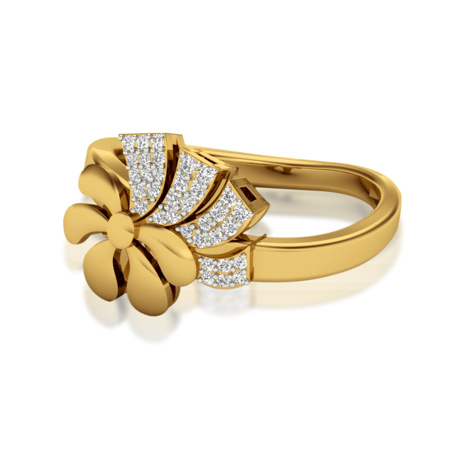 Bowed Up Flower Diamond Ring