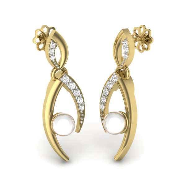 Dangling Pearl Diamond Earring