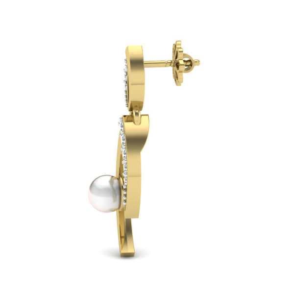 Dangling Pearl Diamond Earring